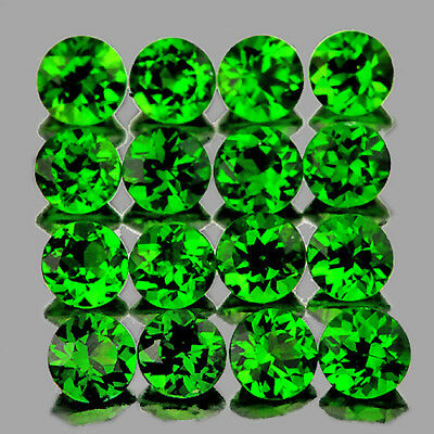 1.5mm ROUND 75 PIECES CHROME GREEN DIOPSIDE NATURAL GEMSTONE RUSSIAN [FLAWLESS]