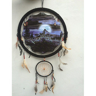 "13"" Night Wolf Pack Moon Dream Catcher Wall Hang Decor Feathers Beads Gift 1364"