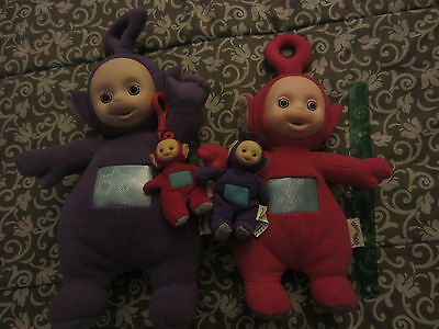 Teletubbies Talking Purple Tinky Winky Red Po Plush Dolls key chain lot 4
