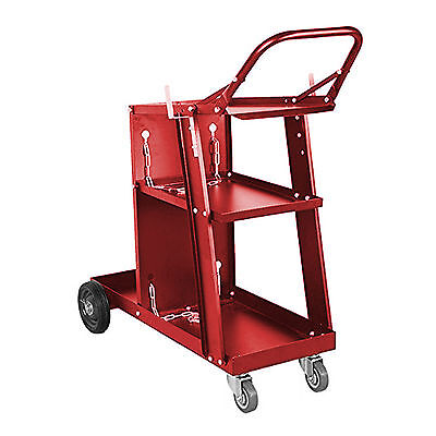 Welding Cart Plasma Cutter Welder Mig Tig Arc Storage For Tanks Gas Bottles Red