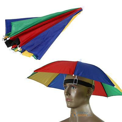 Foldable Umbrella Hat Cap Beach Fishing Hands Camping Sun Rain Headwear B #F8s