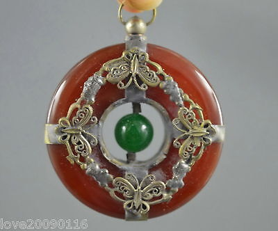 Collectible Decor Old Handwork Inlay Miao Silver Butterfly Jade Noble Pendant