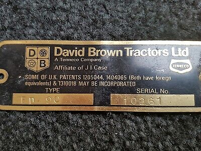 David brown tractor serial number plaque
