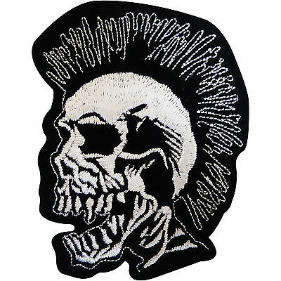 Embroidered Mohican Mohawk Skull Patch Badge Iron / Sew On Clothes Jacket Jeans