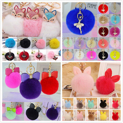 Rabbit Fur Ball PomPom Phone Car Keychain Pendant Charm Handbag Key Ring Chain