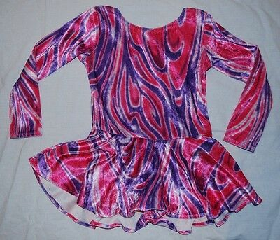 Girls Ice Skating Dress in Pink and Purple Velour, Size 3-4 Years, Used