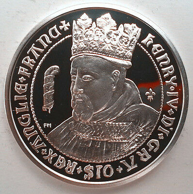 British Virgin 2008 Henry IV 10 Dollars Silver Coin,Proof