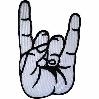 Embroidered White Hand Sign of the Horns Patch Badge Iron / Sew On T Shirt Jeans