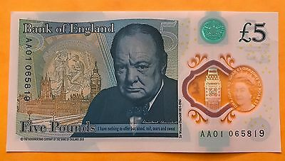 Genuine Polymer £5 pound note with very, very low serial number AA01 065819