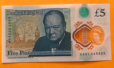 Genuine Polymer £5 pound note with very, very low serial number AA01 065 899