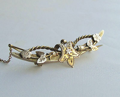 Old antique Victorian 9ct gold brooch Chester hallmarks dated 1894-95