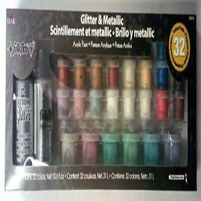 Folkart Metallic Paint Set, 32 Colors 23916 Craft High Quality Non-Toxic Easy Ne