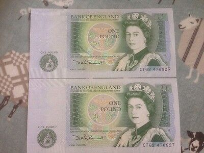 2 X Uncirculated £1 Notes Consecutive Numbers D H Somerset