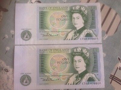 2 X Uncirculated £1 Notes Consecutive Numbers D H Somerset Ct