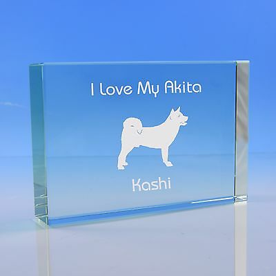 Akita Dog Gift Personalised Engraved Glass Paperweight - Birthday