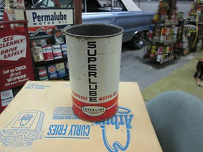 Early Original Superline Superlube Motor Oil One Imperial Quart Can Metal