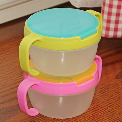 Cute Baby Boy Girl Toddler No Spill Active Snack Container Free Snacker Bowl Cup
