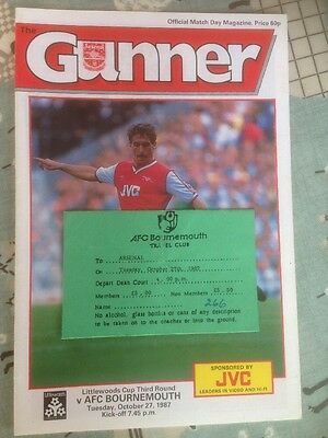 Arsenal V AFC Bournemouth 27/10/1987 Littlewoods Cup Programme & Travel Ticket