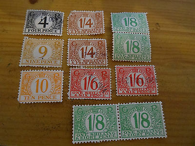 11 Old 1940S  George V1 Unemployment  Insurance Stamps, 4D - 1/8D Some Used