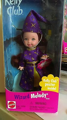1999 Mattel Kelly Club Melody as a Wizard, dressed in purple and gold, NRFB