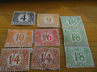 9 Old 1940S  George V1 Unemployment  Insurance Stamps, 4D - 1/8D Some Used