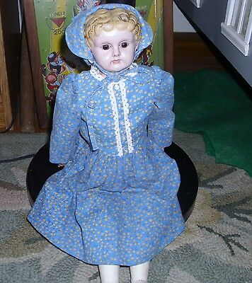 16 in Minerva Tin Doll Glass Eyes VG Condition