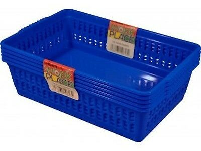 Dark Blue Set of 5 Small Plastic Handy Basket
