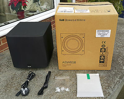 B&W ASW608 Subwoofer Soft Black finish, boxed with instructions, spikes & feet
