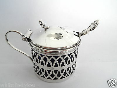 Vintage Pierced Silver Hm Birmingham 1900 Mustard Pot Initial A To Domed Top