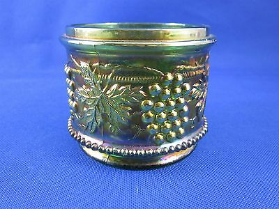Northwood Grape and Cable Greenish Carnival Glass Powder Jar - Base Only