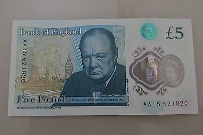 POLYMER FIVE POUND NOTE  £5 NOTES  AA15 Serial Number.