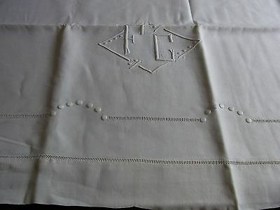 Drap 10 ancien fil lin jours & monogramme FC 200x305 OLD LINEN SHEET EMBROIDERED
