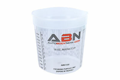 ABN Clear Plastic Paint Mixing Cup 16oz Ounce / 473mL Milliliter 1 Pint