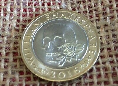 £2 coin William Shakespeare Tragedies skull & rose 2016 two pound coin