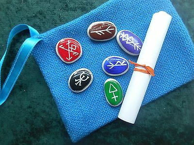 Charm Stones - hand-painted in Glastonbury - with scroll & pouch - wicca/pagan