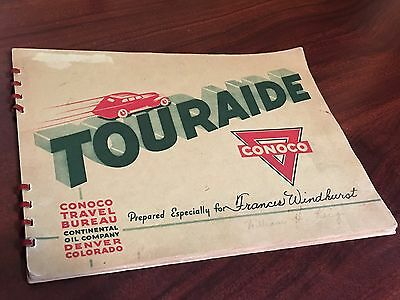 Vintage CONOCO TOURAIDE Gas Oil Advertising SIGN Station OLD 1938 1929 Ford TRIP