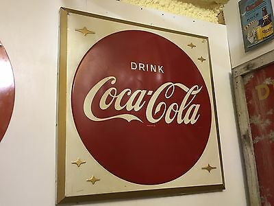 VinTaGe 1960's DRINK COCA COLA Embossed BUTTON Sign RARE Soda COKE Collectible