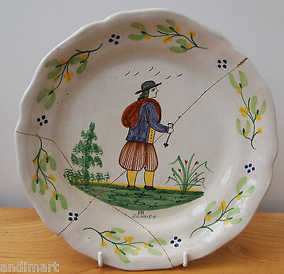 Quimper Hand Painted Plate - Faïence - Late 19th Early 20th Century? - Damaged