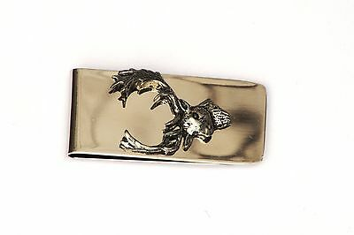 Fallow Head Pewter Motif Money Clip Free Engraving Gift Hunting Present