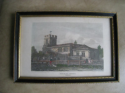 Vintage Tinted Engraving Of Finchley Church, Framed & Glazed