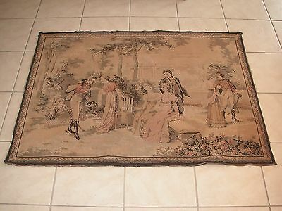 """Antique French  Wall Hanging Tapestry, Late 1800's, 53"""" By 39"""", Marked"""