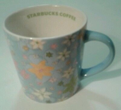 Starbucks Coffee Mug Blue Floral Spring Collectible