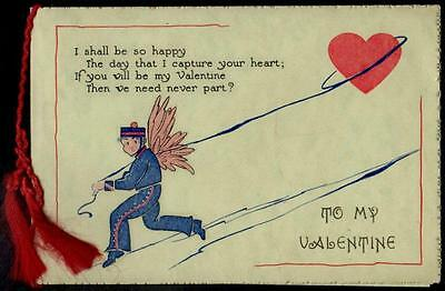 """Vintage Valentine Card - Cupid & Heart - """" I'd like to mate with you"""""""