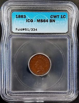 """1863 Civil War Token, Fuld #51/334, """"OUR ARMY"""", graded MS 64 BN by ICG!"""