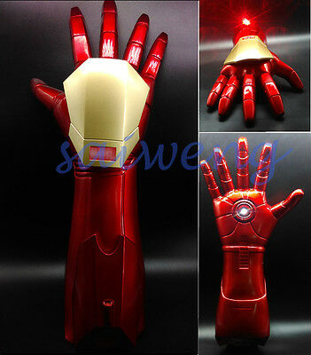 1:1 The Avengers Iron Man Stark Updated Glove gauntlet LED Light Hand with Laser