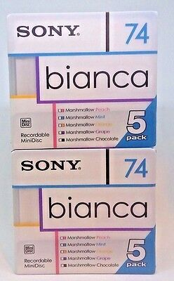 NEW Sony Bianca MD74 blank MiniDisc 10 disc pack-74 minute fresh color shell