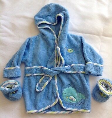 Just Born Infant Boys Blue Bath Robe with Slippers Size 0-9M Fish Whale