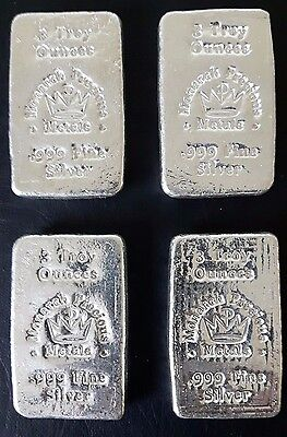 *lot Of 4* Hand Poured 3 Oz Monarch Precious Metals .999 Silver Bars=12 Oz Total