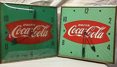 Lot Of 2 Vintage Coca Cola Pam Glass Face Bubble Clock Sign Advertising Display
