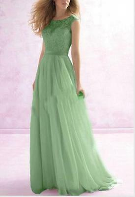 Long Chiffon Lace Formal Evening Party Ball Gown Prom Bridesmaid Dress Size 6
